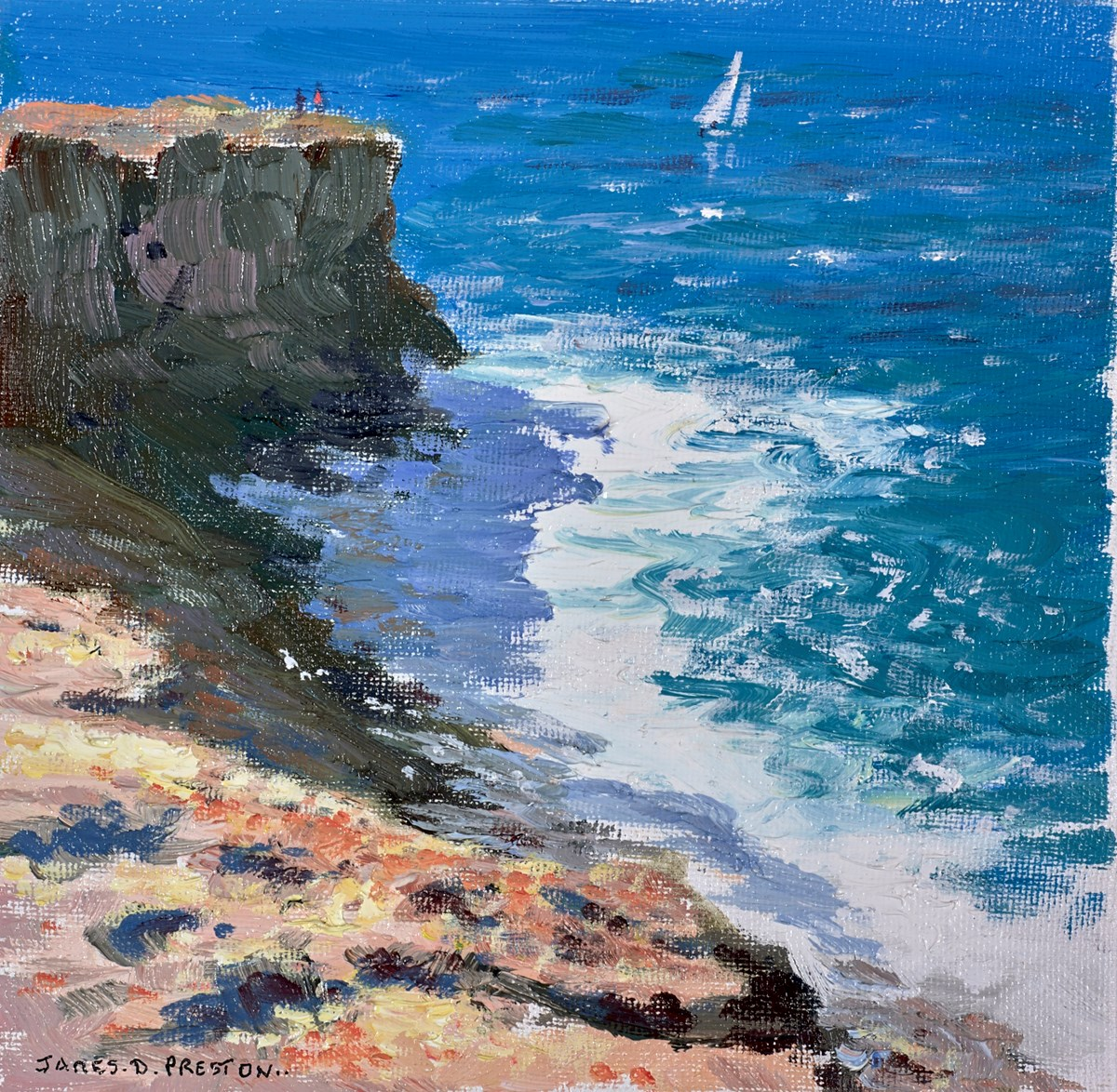 Cliffs (Ibiza) by james preston -  sized 8x8 inches. Available from Whitewall Galleries